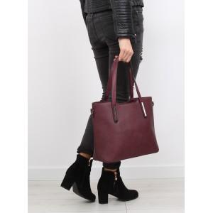 Bordové dámske kabelky na rameno a zips s kovovými ozdobami