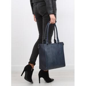 Tmavo modrá dámska kabelka na rameno s vzorovaným ramienkom
