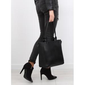 Klasická čierna dámska kabelka na rameno so vzorom na boku