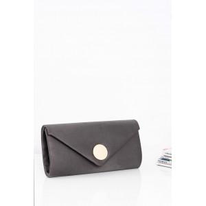 Jednoduchá dámska večerná kabelka sivej farby so zlatým zapínaním