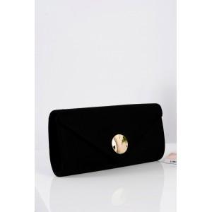 Čierna dámska plesová kabelka so zlatým zapínaním a ramienkom