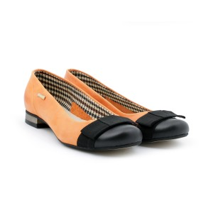 Oranžové dámske kožené balerínky