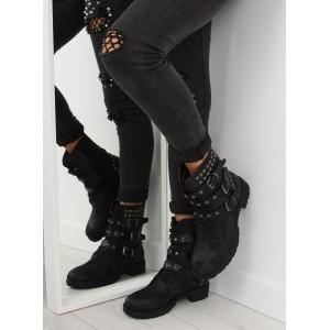 Čierne vybíjané dámske topánky na zimu s nízkym podpätkom a prackami