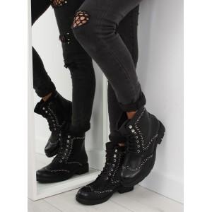 Moderné čierne dámske topánky na zimu so strieborným ozdobami