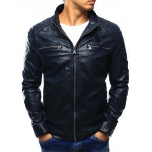 Moderná tmavo modrá pánska kožená bunda s náprsnými vreckami