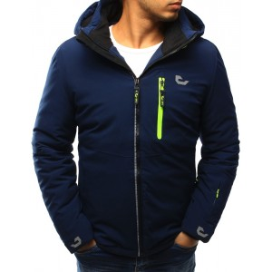 Pohodlná tmavo modrá pánska zimná bunda s odnímateľnou kapucňou
