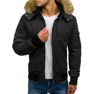 Pánska bunda na zimu s krátkym strihom čiernej farby