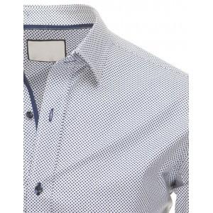 Pánska moderná košeľa bielej farby s bodkovaným vzorom