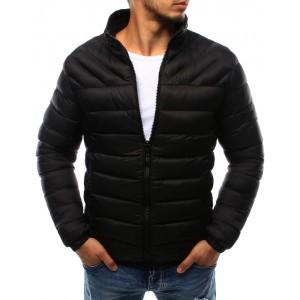 Elegantná čierna pánska prechodná bunda s prešívaným vzorom bez kapucne