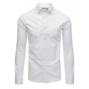 Pánske spoločenské košele bielej farby so vzormi