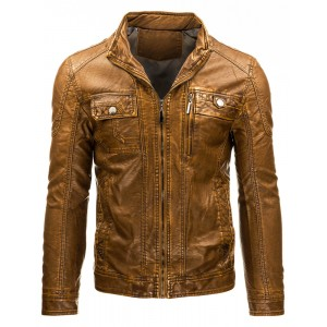 Pánska prechodná kožená bunda hnedej farby s náprsnými vreckami