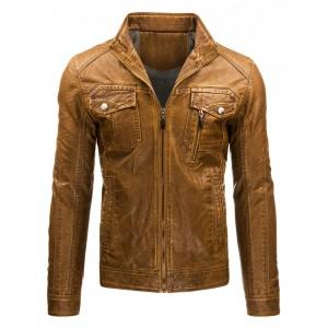 Pánska prechodná kožená bunda bez kapucne v hnedej farbe s vreckami a zipsom