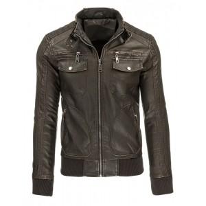 Hnedá pánska prechodná kožená bunda na zips s náprsnými vreckami