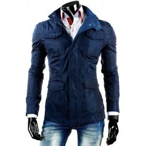 Predĺžená tmavo modrá pánska prechodná bunda s vreckami