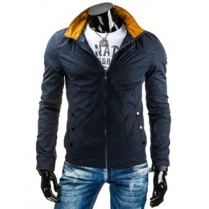 Jednoduchá tmavo modrá prechodná bunda bez kapucne pre pánov