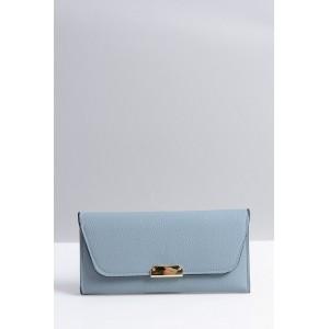 Priestranná dámska peňaženka modrej farby so zlatou ozdobou