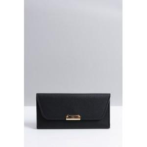 Veľká čierna peňaženka so zlatou sponou pre elegantné dámy