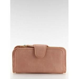 Dámske priestranné peňaženky v ružovej farbe s chlopňou a zipsom