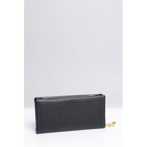 Jednoduché dámske peňaženky v čiernej farbe so zlatou aplikáciou