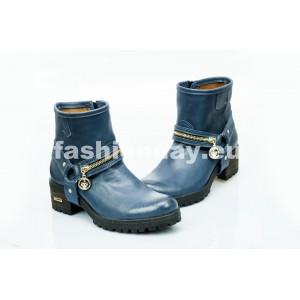 Dámske kožené topánky tmavo modré PT452