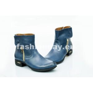 Dámske kožené topánky tmavo modré DT475