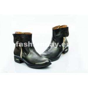 Dámske kožené topánky čierne DT475