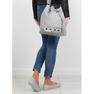 Sivá dámska kabelka na rameno typu vrece so strapcami