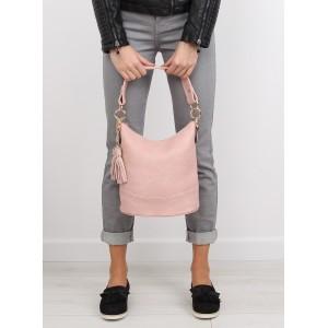 Svetlo ružová dámska kabelka do ruky so strapcami