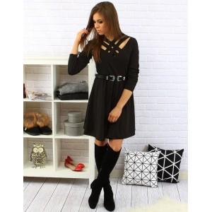 Elegantné čierne dámske šaty po kolená s dlhým rukávom a opaskom