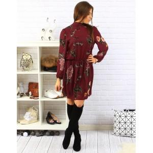 Kvetované dámske šaty po kolená v bordovej farbe s dlhými rukávmi