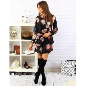 Kvetované čierne dámske šaty nad kolená s dlhými rukávmi