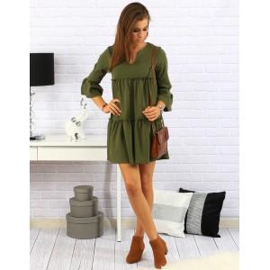 Pohodlné dámske šaty voľného strihu v zelenej farbe na každý deň