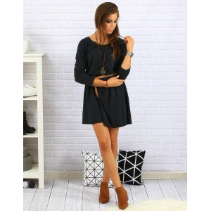 Tmavo sivé dámske šaty nad kolená s trojštvrťovým rukávom a opaskom