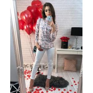 Spoločenská sivá dámska košeľa s ružovými guličkami a dlhými rukávmi