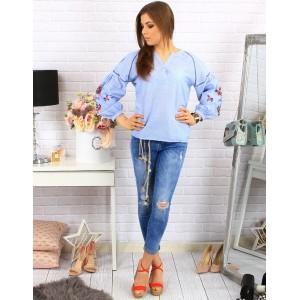 Svetlo modré krátke dámske košele s dlhým rukávom a kvetinovým vzorom