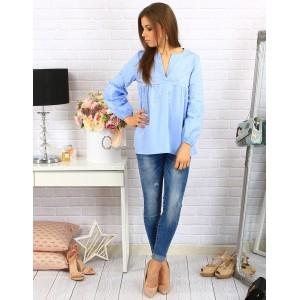 Modré dámske košele voľného strihu s dlhým rukávom a perličkami
