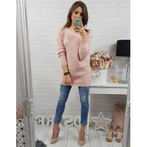 Moderné dámske pletené svetre v ružovej farbe s perličkami s dlhými rukávmi
