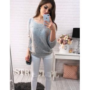 Voľné dámske pletené svetre na voľný čas v sivej farbe zdobené perličkami