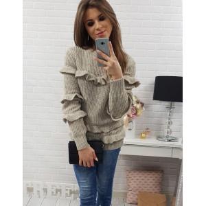 Moderný dámsky sveter béžovej farby s volánmi a okrúhlym výstrihom
