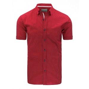Elegantná červená pánska košeľa s krátkym rukávom a bielym vzorom