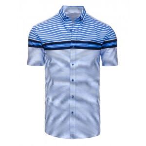 Ležérne modré pánske košele s krátkym rukávom a prúžkovaným vzorom