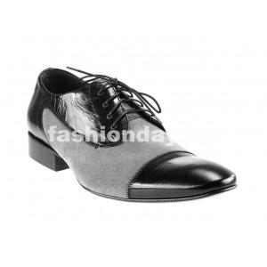 Pánske kožené spoločenské topánky čierno-sivé