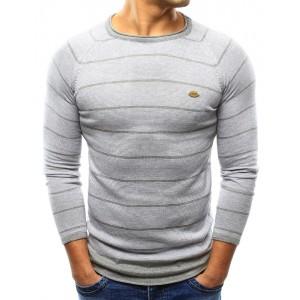 Léžérny pánsky sveter v sivej farbe s pruhovaným vzorom