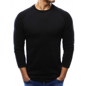 Jednoduchý čierny pánsky sveter s okrúhlym výstrihom a vzorom na rukávoch