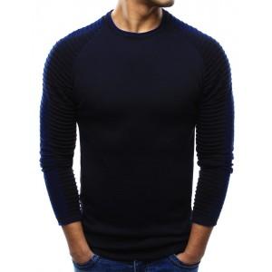 Tmavo modré pánske svetre cez hlavu so vzorovanými rukávmi
