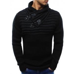 Moderné pánske svetre v čiernej farbe s prackami a stojatým golierom