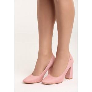 Svetlo ružové dámske lodičky na vysokom hrubom podpätku