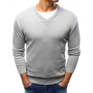 Jednoduchý pánsky bavlnený sveter sivej farby s výstrihom do V