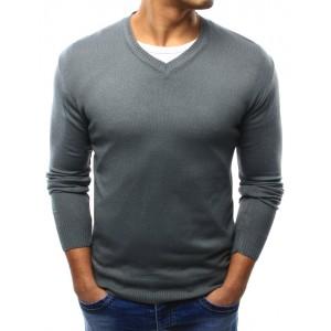 Tmavo sivé pánske bavlnené svetre s véčkovým výstrihom na každý deň