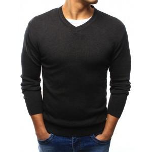 Bavlnený tmavo sivý pánsky sveter s výstrihom do V na voľný čas